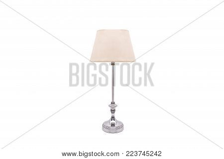 old lamp with metal base and lampshade