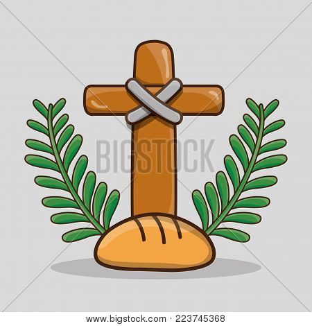 palm branches with catholic cross and bread vector illustration