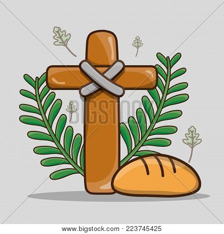 catholic cross with palm branches and bread vector illustration