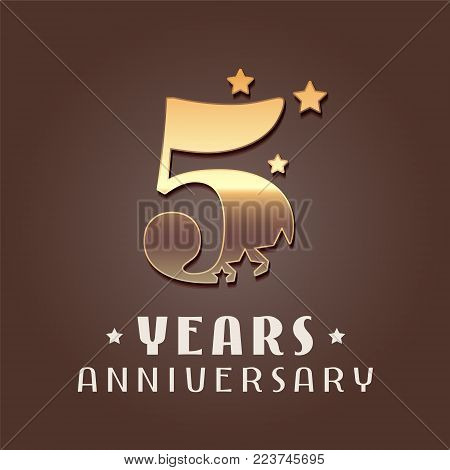 5 years anniversary vector icon, logo. Graphic design element with golden metal effect numbers for 5th anniversary decoration