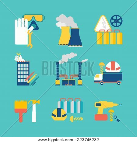 Set of flat design style decorative icons on blue background with nine images consisting of mototruck, smokestack, gloves, business building and working implements isolated vector illustration