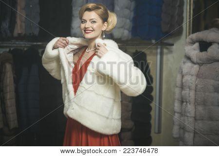 Woman In Fur Coat, Shopaholic.