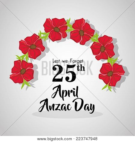 flowers design to Anzac day memorial vector illustration
