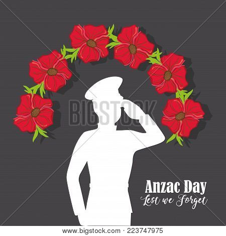 soldier with flowers to anzac day memory vector illustration