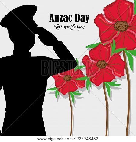 flowers with soldier army to anzac day vector illustration