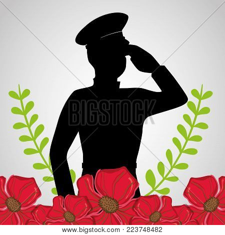 military soldier with flowers to anzac day vector illustration