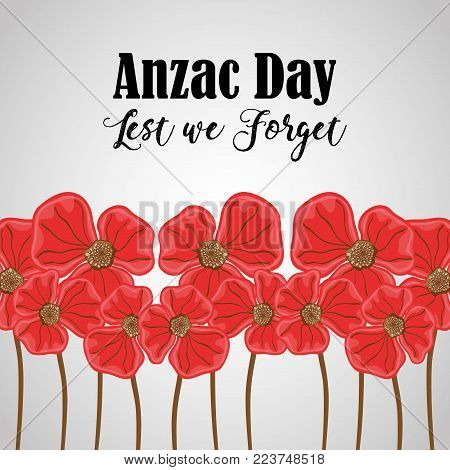 flowers to anzac holiday and memorial war vector illustration