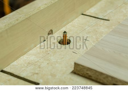 Woodworking. The milling machine is stopped. Close-up.