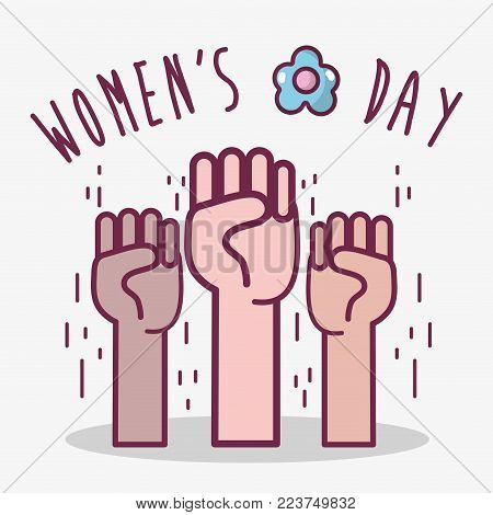 oppose hands up to womens day celebration vector illustration