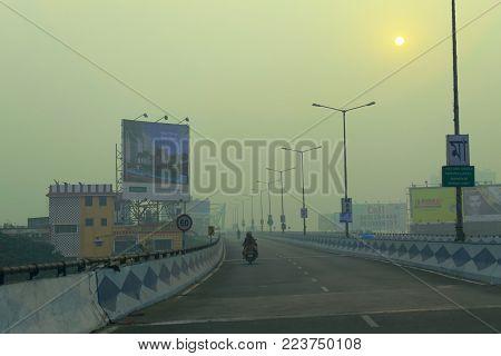 KOLKATA, WEST BENGAL , INDIA - NOVEMBER 27TH 2016 : Parama Island flyover, popularly known as Ma or Maa flyover is a 4.5 kilometer long flyover in Kolkata.. From Alipore to Eastern Metropolitan Bypass of Kolkata.