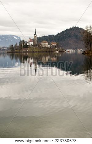 Lake Bled and Bled Island with Castle, Bled, Slovenia