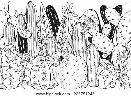 Black and white doodle seamless pattern with cactus. Prickly pear, agave, saguaro, cactus flower.