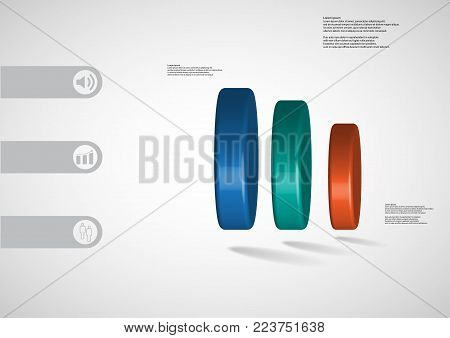 3D illustration infographic template with motif of round cone vertically divided to five brown parts with simple sign and sample text on side in bars. Blurred photo is used as background.