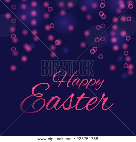 Easter banner background, template with beautiful light effect and bokeh. Modern postcard or invitation for holliday.