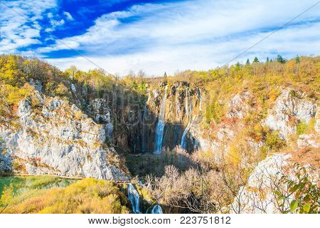 Big waterfall in the Plitvice Lakes National Park in Croatia in autumn