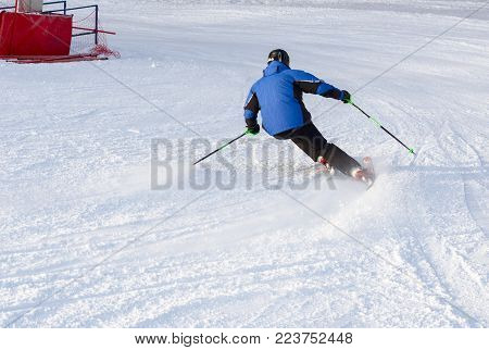 25 January 2018 - Moscow, Russia. A man skiing down ski slope