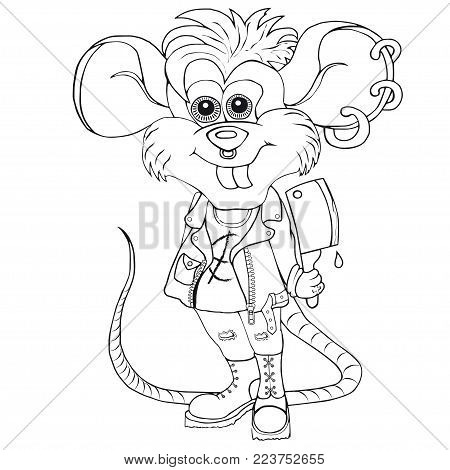 Coloring punk mouse. Isolated image on white background.