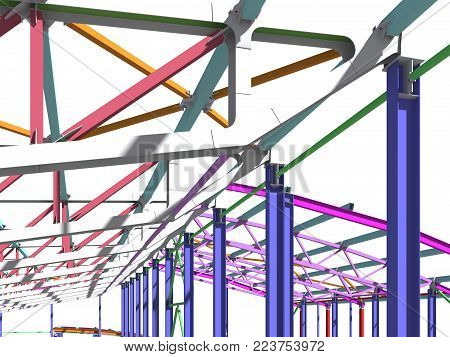 The 3D model of the construction of sports buildings from metal constructions. Engineering, industrial and construction background. 3D rendering.