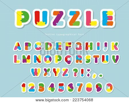 Puzzle paper cut out font. ABC colorful creative letters and numbers. Vector