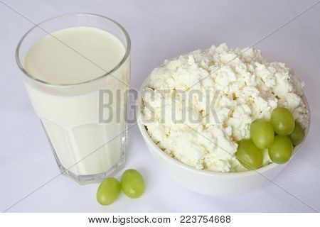 Milk In A Transparent Glass Bottle With A Lid Yoke, Milk Glass, Homemade Oatmeal Cookies, Cinnamon,