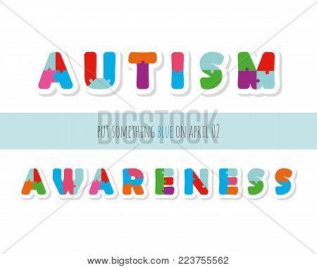 Autism awareness. Puzzle letters paper cut out. Vector