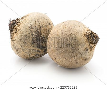 Beetroot (red beet) two raw bulbs isolated on white background