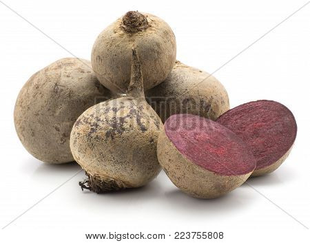 Beetroot (raw red beet) set isolated on white background four bulbs and two sliced halves