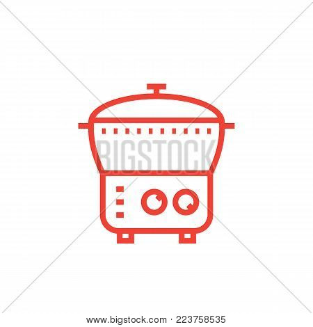 electric cooker icon, steamer, multi cooker in linear style, eps 10 file, easy to edit poster