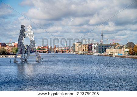 BERLIN - OCTOBER 22, 2017: Molecul Man sculpture  in Berlin, Germany.Sculptures, designed by American artist Jonathan Borofsky.