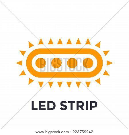 LED strip icon on white, eps 10 file, easy to edit