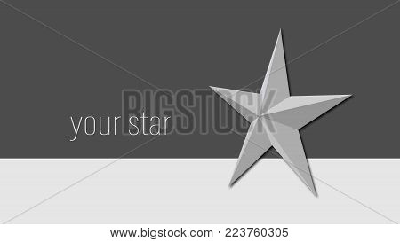 background with a star in shades of gray for business cards, design, advertising, screen saver, covers