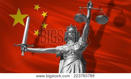 Cover about Law. Statue of god of justice Themis with Flag of China background. Original Statue of Justice. Femida, with scale, symbol of justice with China flag 3d rendering.