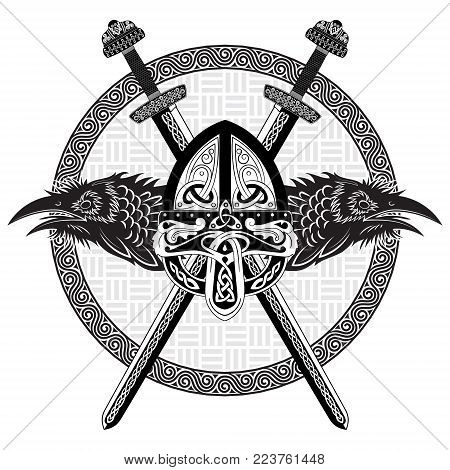 Viking helmet, crossed viking sword and in a wreath of Scandinavian pattern and two raven, isolated on white, vector illustration