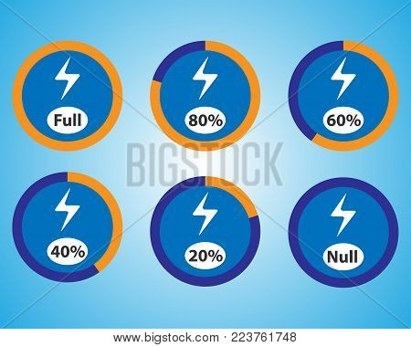 Set of energy quantity indicators icons. Vector blue charge indicators. Round vector elements.