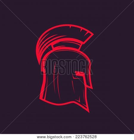 spartan helmet outline, eps 10 file, easy to edit