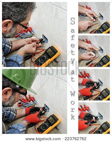 Photo collage of an electrician technician at work with and without safety equipment on an electrical system.