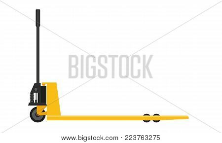 Hand pallet truck with solid and flat color design. Illustrated vector.