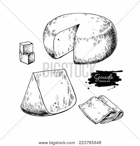 Gouda cheese block drawing. Vector hand drawn food sketch. Engraved Slice cut. Farm market product for label, poster, icon, packaging. Dairy vintage product