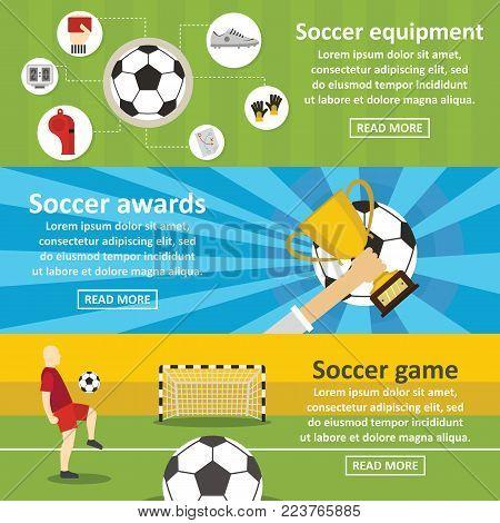 Soccer football banner horizontal concept set. Flat illustration of 3 soccer football vector banner horizontal concepts for web