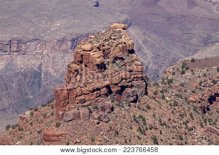 A rock formation created by erosion at the Grand Canyon National Park
