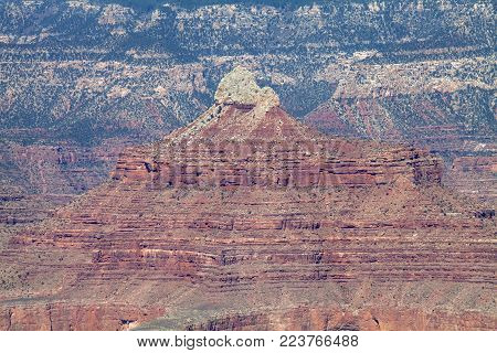 The geological features of the canyon walls at the Grand Canyon in Arizona