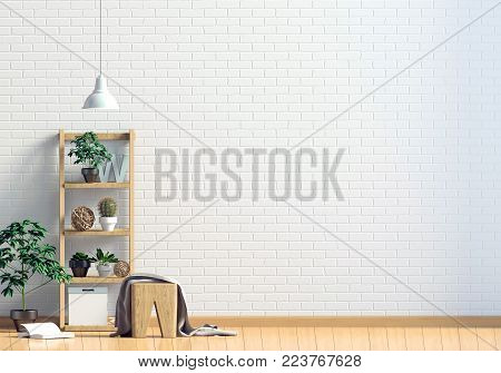 Modern interior with shelf, plant and lamp. Wall mock up. 3d illustration