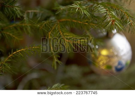 Branch of Christmas tree with ball decoration