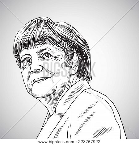 Drawing of Angela Merkel the Chancellor of Germany. Vector Illustration. January 27, 2018