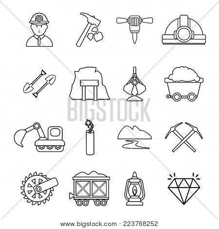 Mining minerals business icons set. Outline illustration of 16 mining minerals business vector icons for web