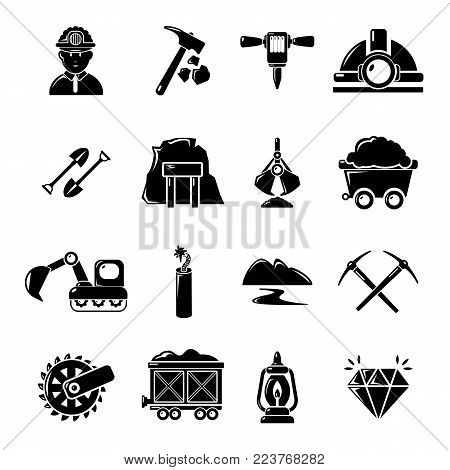 Mining minerals business icons set. Simple illustration of 16 mining minerals business vector icons for web