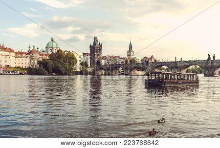 Charles Bridge In Prague In The Czech Republic. Catholic Church Of St. Franciszek Of Serafin. Pleasu