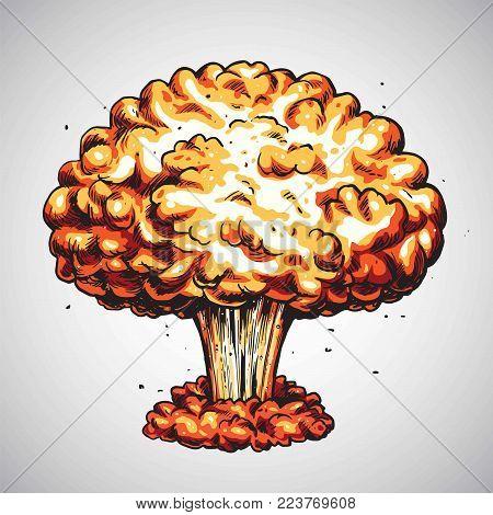 Nuclear Explosion. Atomic Bomb Mushroom Cloud Illustration