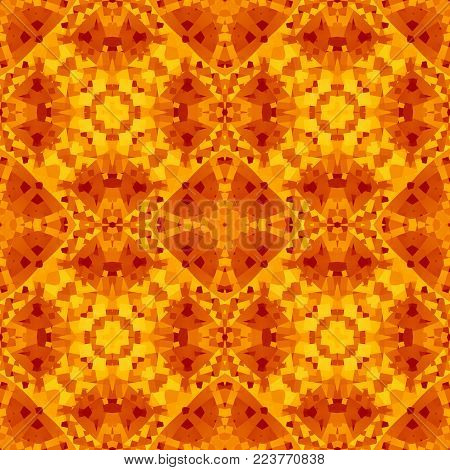 Orange red abstract texture. Textile print pattern. Geometric seamless tile. Detailed caleidoscope effect background illustration. Home decor fabric design sample. Tileable motif for pillows, cushions