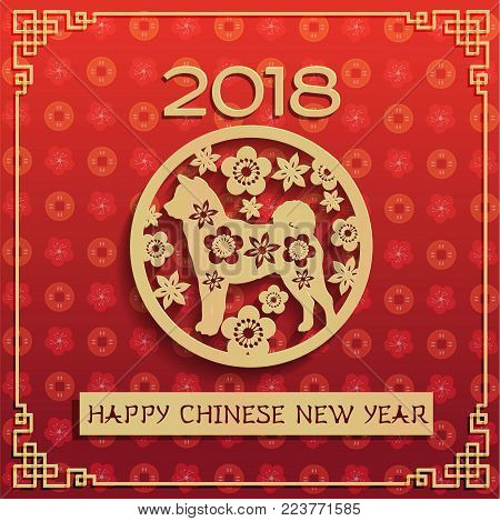 2018 Chinese New Year - year of dog greeting card and golden dog in circe with chinese flowers. Golden calligraphic of 2018